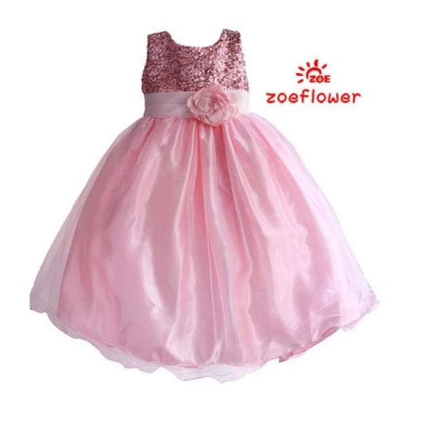 Dress Pesta Anak Warna Pink Tali Pita Motif Bunga Blink Blink Bahan Satin Bridal Gaun Pesta Mewah