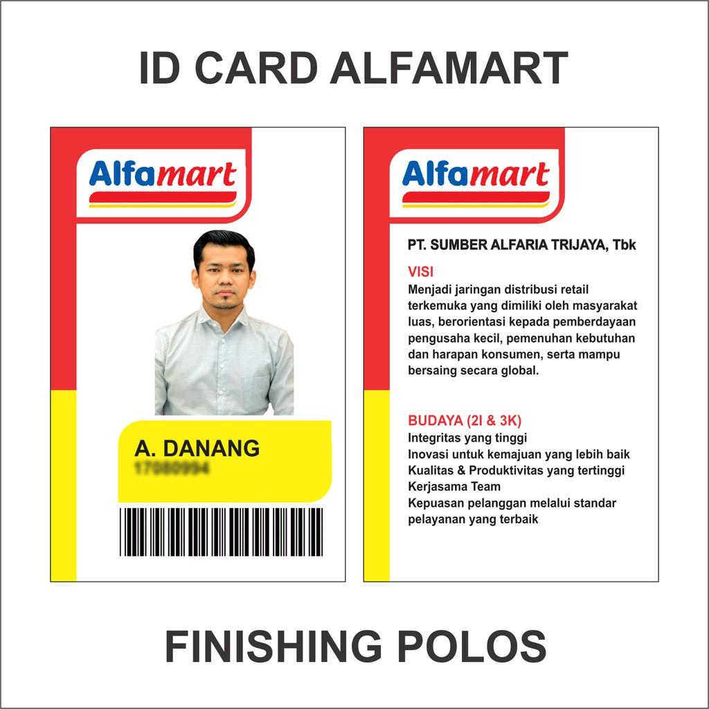 id card indomaret alfamart dan id card karyawan serta komunitas 1 2 sisi murah