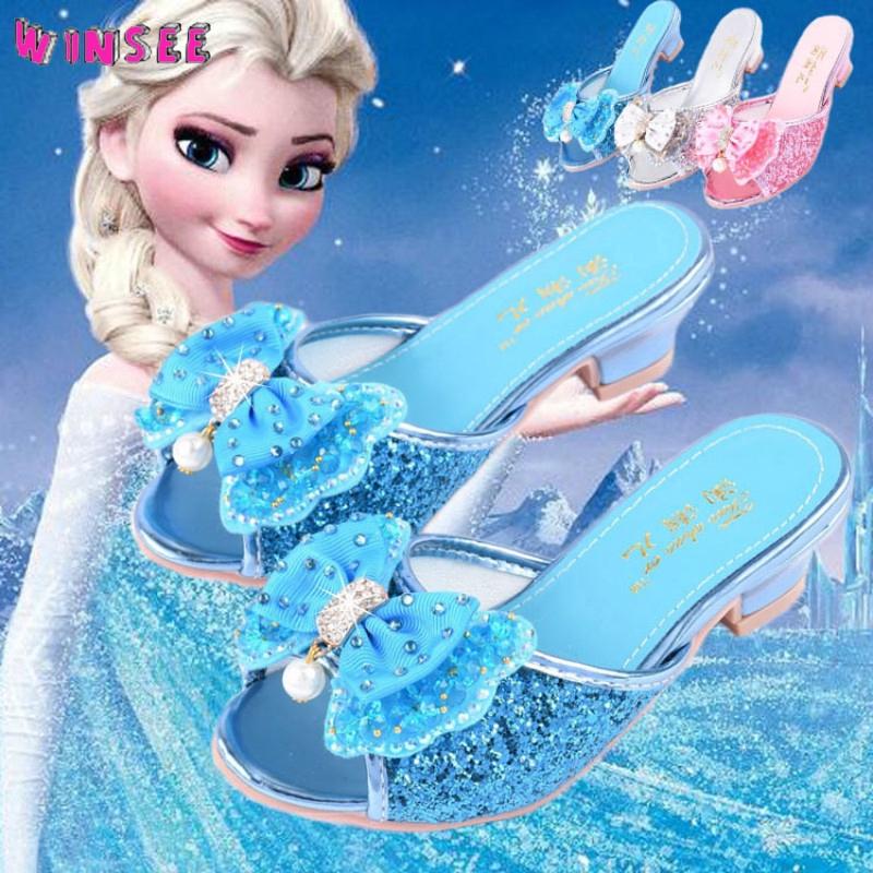 Winsee Air Drill Butterfly Tinggi Bertumit Sepatu Gadis Sandal