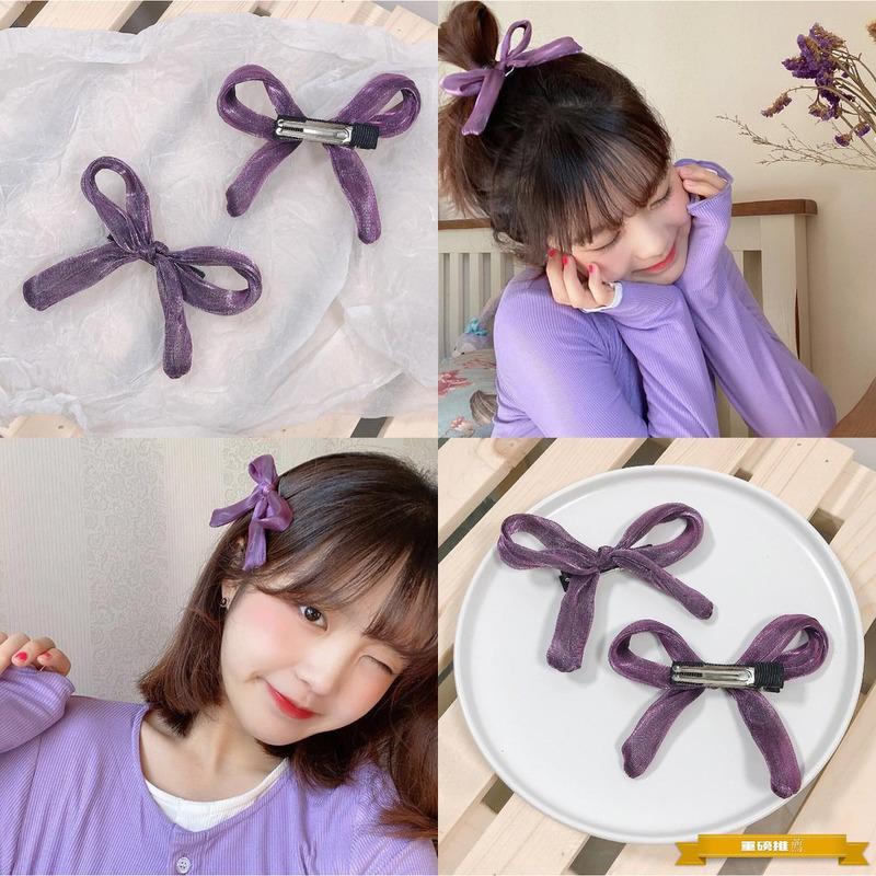 Ready Stock Korean Sweet Style Ins Bangs Hair Clips Super Fairy Mesh Retro Purple Bow Hairpins Hairclips Shopee Indonesia
