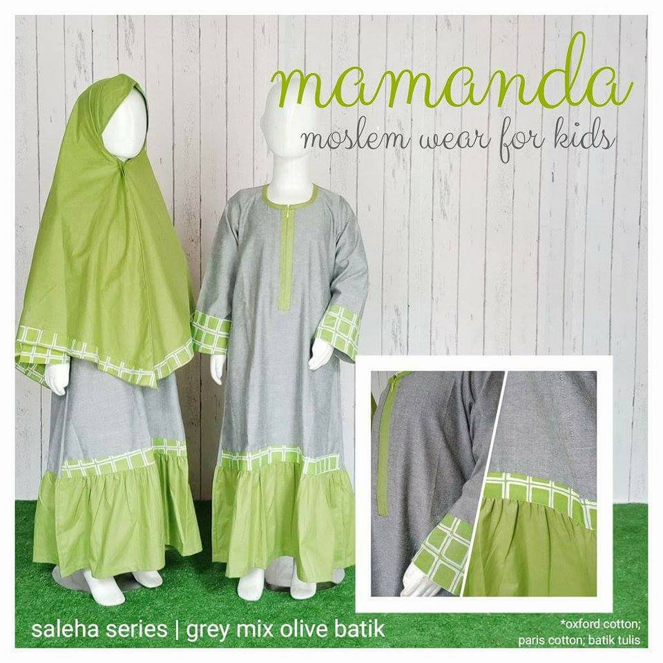 Gamis Anak Mamanda Grey Mix Olive Batik (Saleha Series)