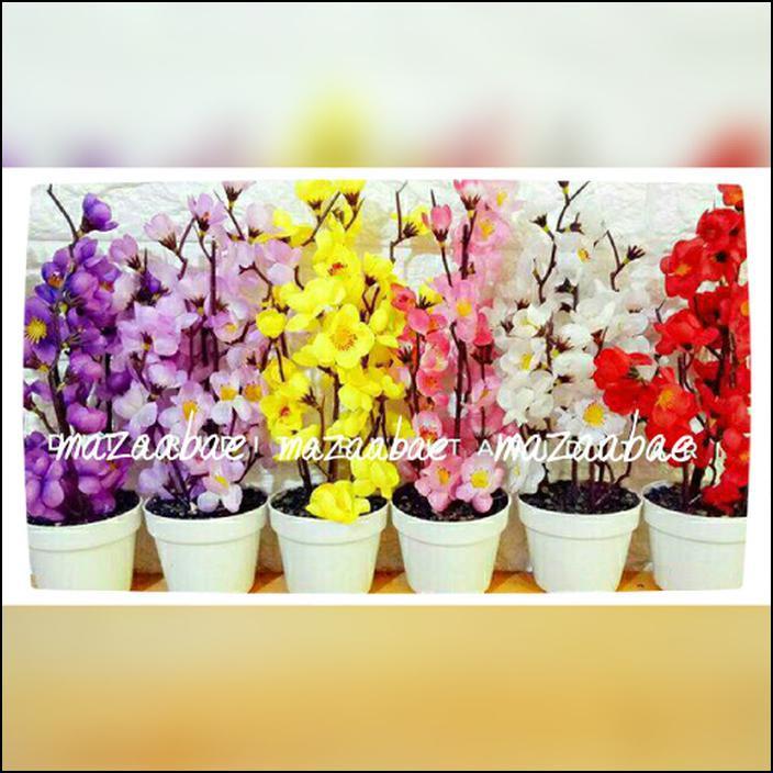 Bunga sakura mini artificial dan vas melamin /shaby chic   Shopee Indonesia