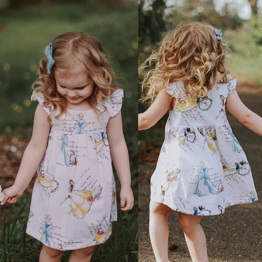 Toddler Kids Baby Girl Children Clothes Cartoon Princess Sleeveless Dress Outfit