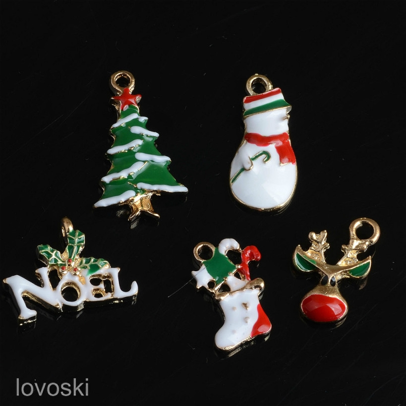 10pcs New Christmas Pendant Charms Jewelry Findings Snowman Deer Holly Tree