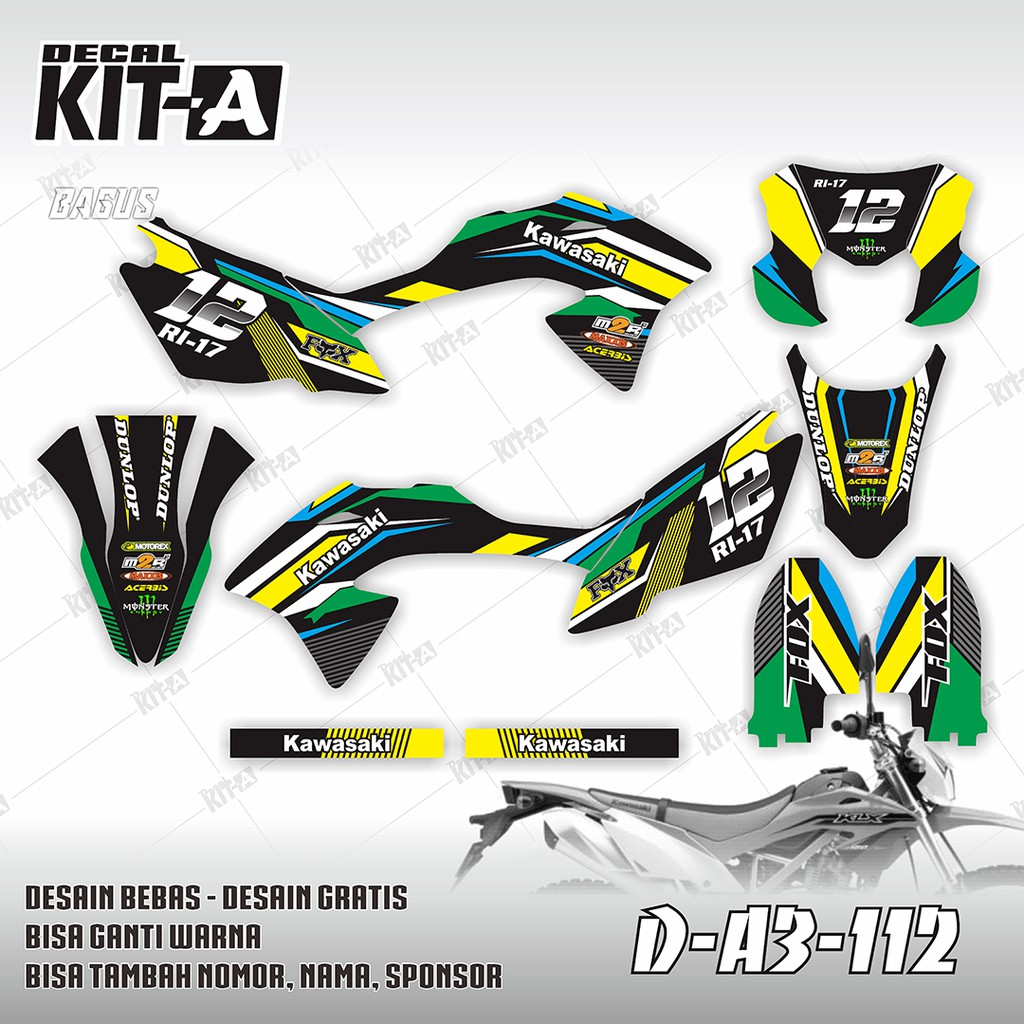 Decal stiker motor klx bf 150 g kuning hijau hitam dekal sticker striping klx 150 d a3 112 shopee indonesia
