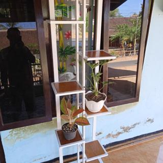 Rak Bunga Kombinasi Kayu Dan Besi Hollow Shopee Indonesia