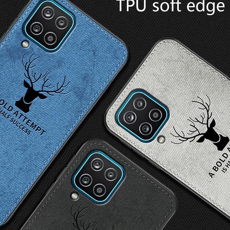[KODE Y8454] Case Samsung A12 Cloth Leather Deer Case Premium Softcase Casing