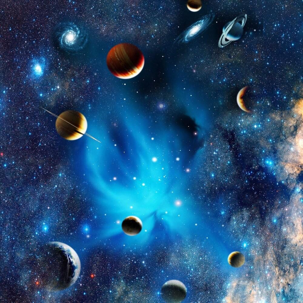 Ruang Angkasa Planet Langit Malam Bintang Foto Mural Untuk Anak Anak Kamar Tidur Langit Langit Shopee Indonesia