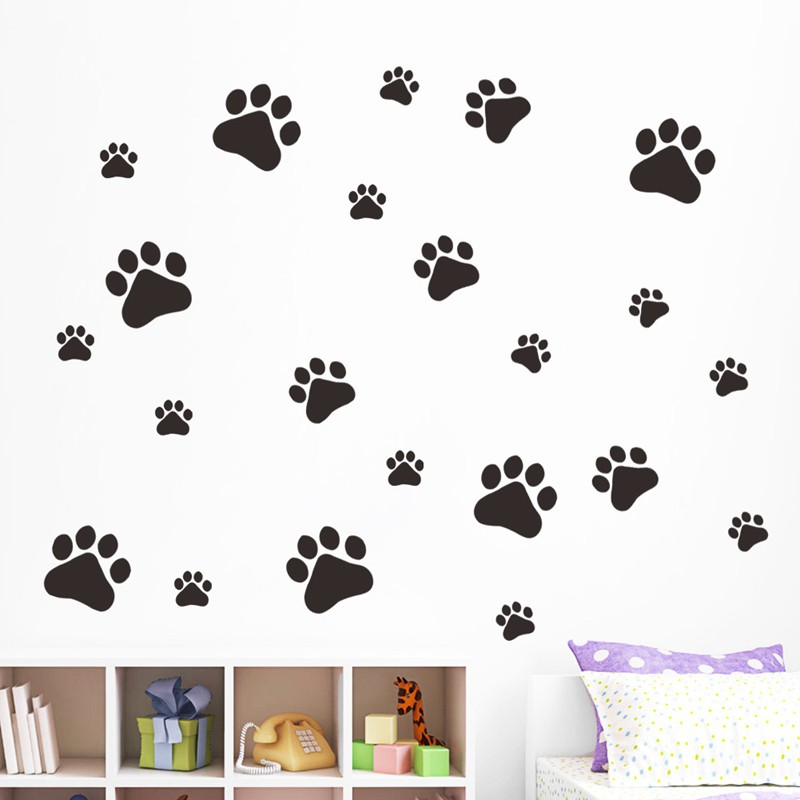 Home Bedroom Wall Stickers Mobile Wallpaper Dog Paw Waterproof