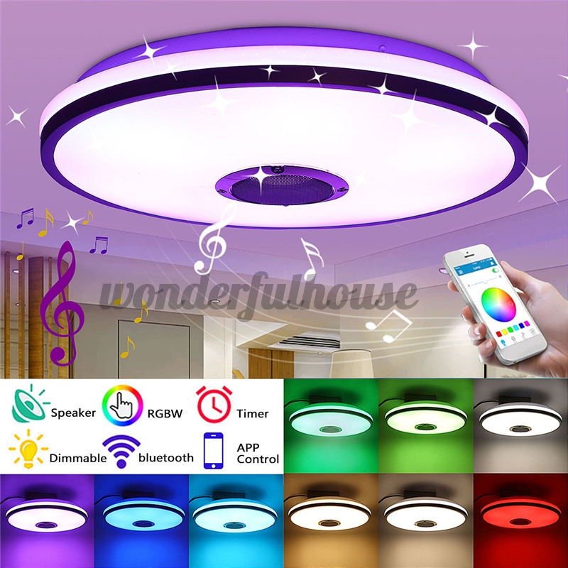 Modern 60w Dimmable Led Rgbw Bluetooth Music Ceiling Light App Remote Control Shopee Indonesia