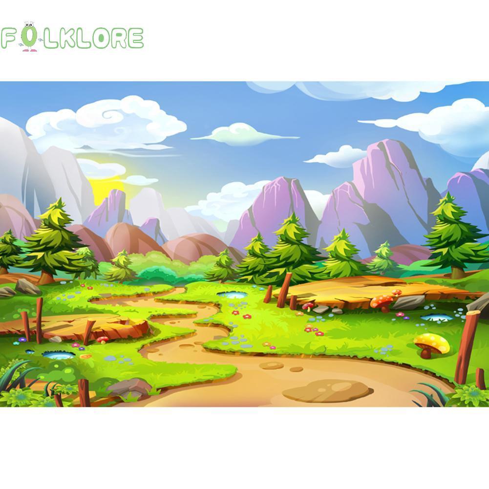 Fol Layar Backdrop Background Prop Fotografi Gambar Pemandangan Kartun