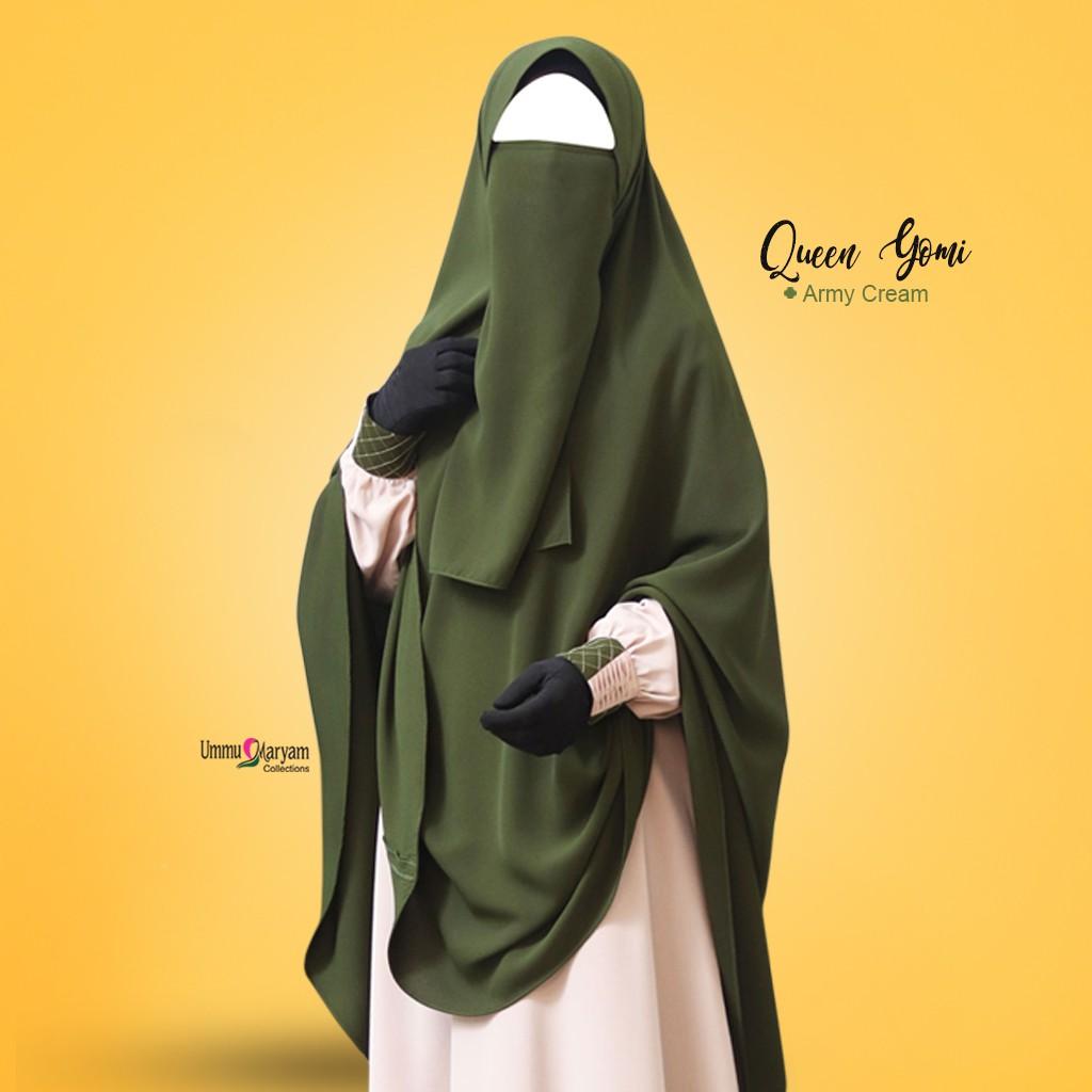 Gamis Syari TERLARIS!! / Setelan Gamis Hijan / Gamis Queen Yomi Moms Army  Cream / BISA[COD]