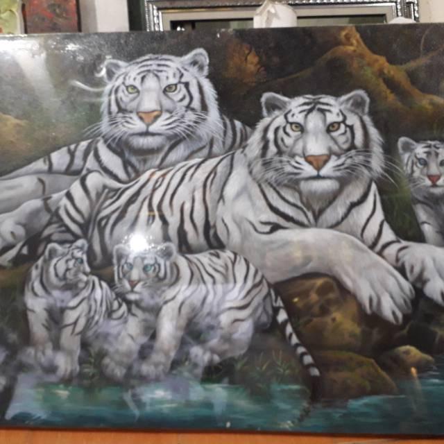 Lukisan Macan Putih Lukisan Hewan Lukisan Murah Lukisan Bagus