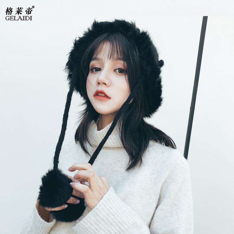✗Topi wanita musim gugur dingin versi Korea ratus pasang ins kelinci garis rambut rajutan hangat te