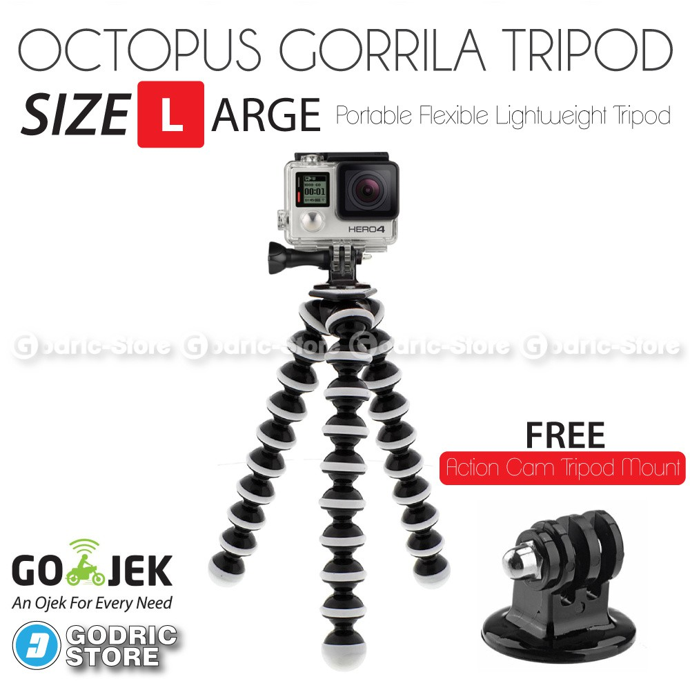 Octopus Gorilla LARGE SIZE Tripod With Mount for Action Cam Xiaomi Yi , BRICA B-PRO5 AE AP, etc | Shopee Indonesia