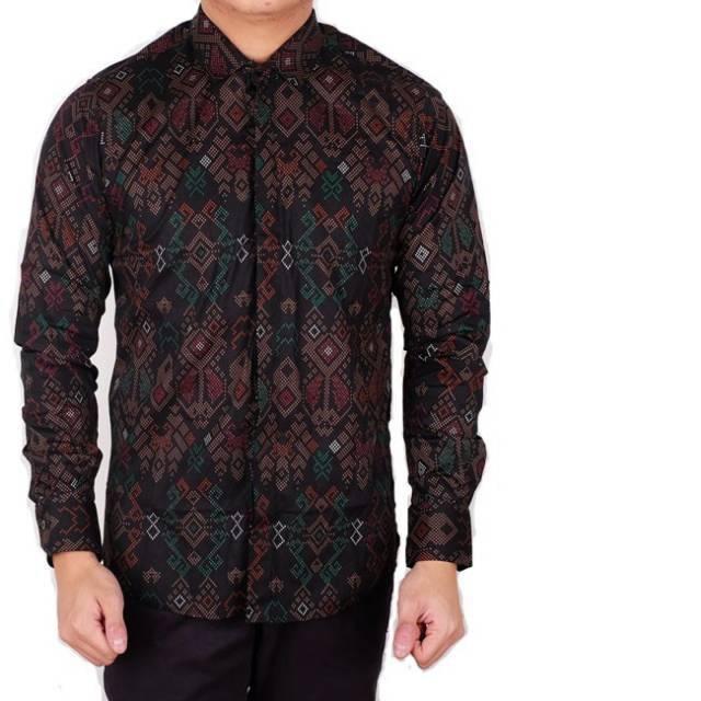 Batik Lengan Panjang Pria Jogja: Ameliashop16 Kemeja Pria Batik Songket Hitam Navy Lengan
