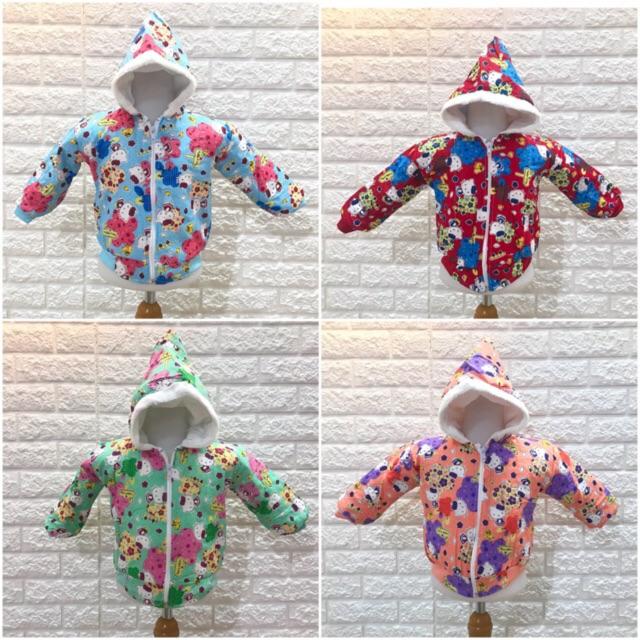 Jaket bayi perempuan bahan katun gambar hellokitty 4 warna ...
