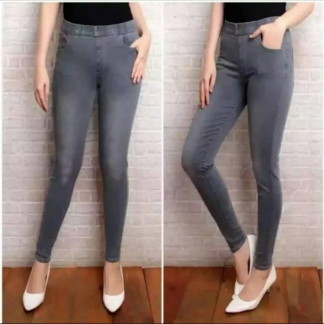 Celana Legging Jeans Jumbo Pinggang Karet Wanita Model Terbaru 2020 Shopee Indonesia