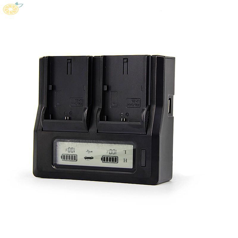 LCD Dual 2-Battery Charger For Sony NP-F970 F960 F950 F770 F750 F550  Charging