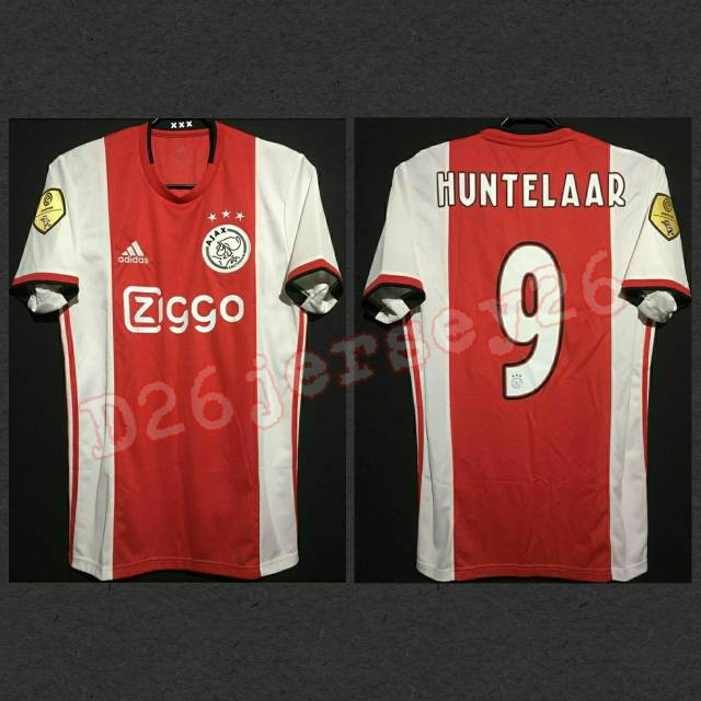 Jersey Ajax Amsterdam Home 2019 2020 Official Cetak Nama Font Official Patch Eredivisie Gold Shopee Indonesia