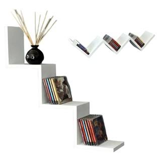 rak dinding minimalis tempel model tangga 3 tingkat / rak