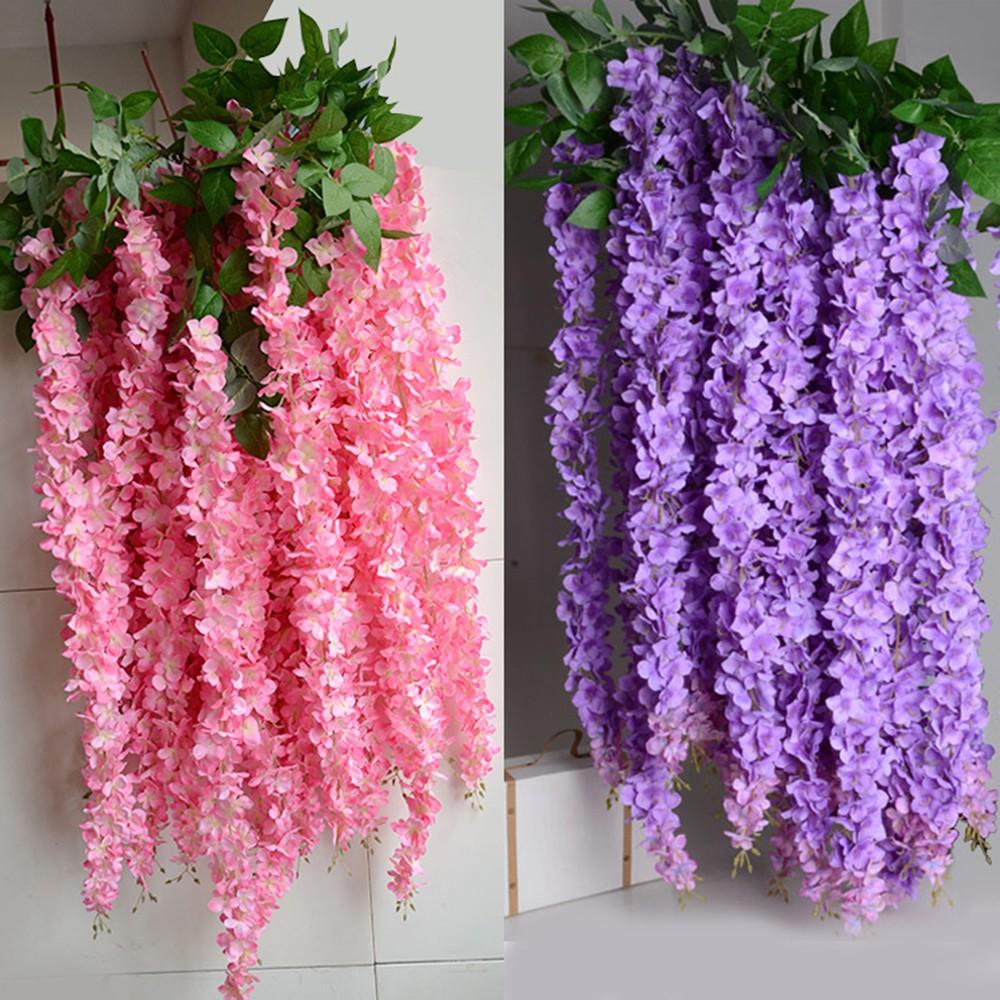 1pcs Artificial Wisteria Flowers Vine Dekorasi Hiasan Bunga Wisteria Gantung Untuk Pesta Pernikahan Bxsq Shopee Indonesia
