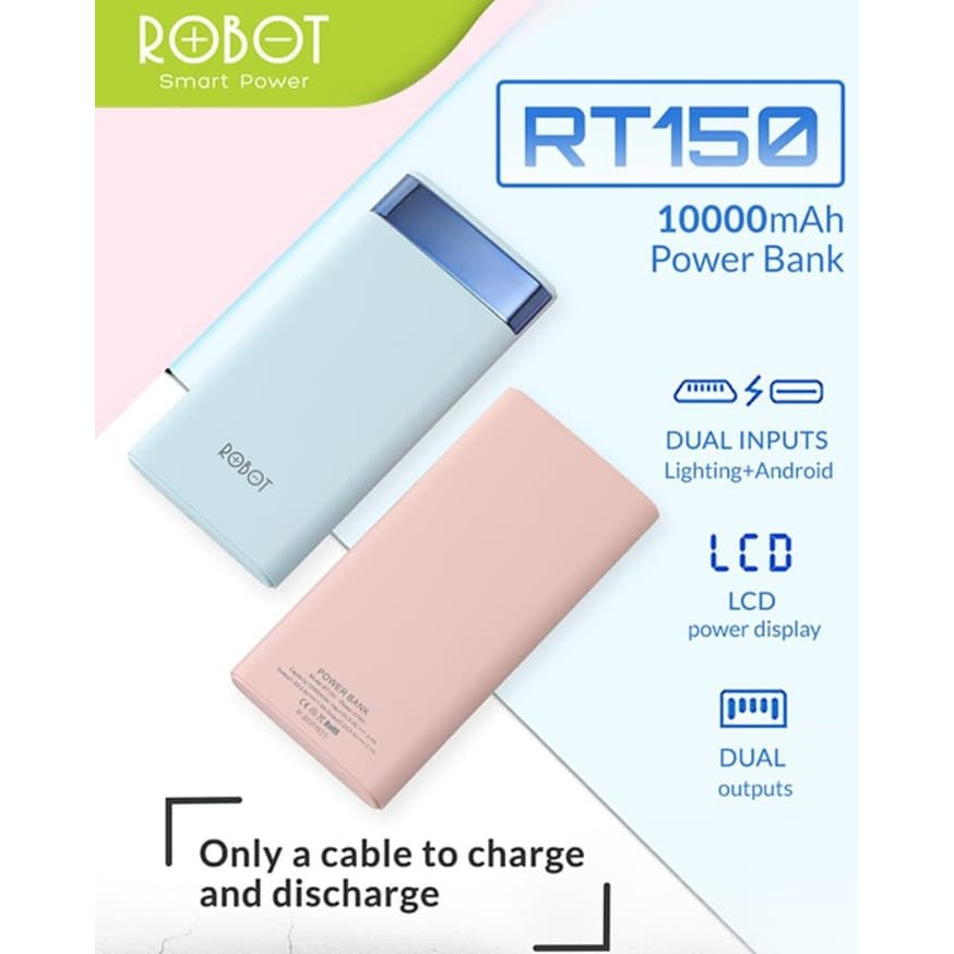 Powerbank Robot RT150 10.000mAh With LCD - Original