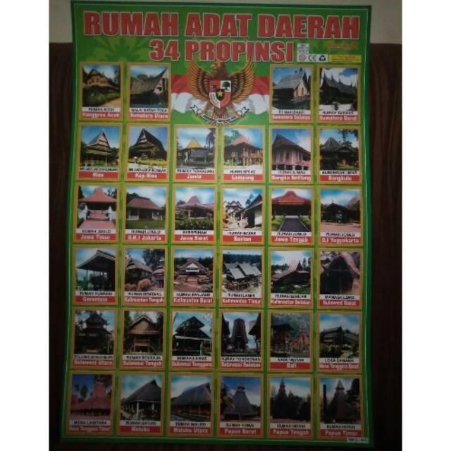 Poster Edukasi Rumah Adat Daerah 34 Propinsi Shopee Indonesia