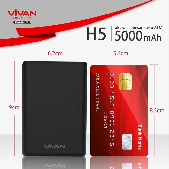 VIVAN VPB-H5 PowerBank 5000mAh Light & Compact Garansi Resmi 1 Tahun