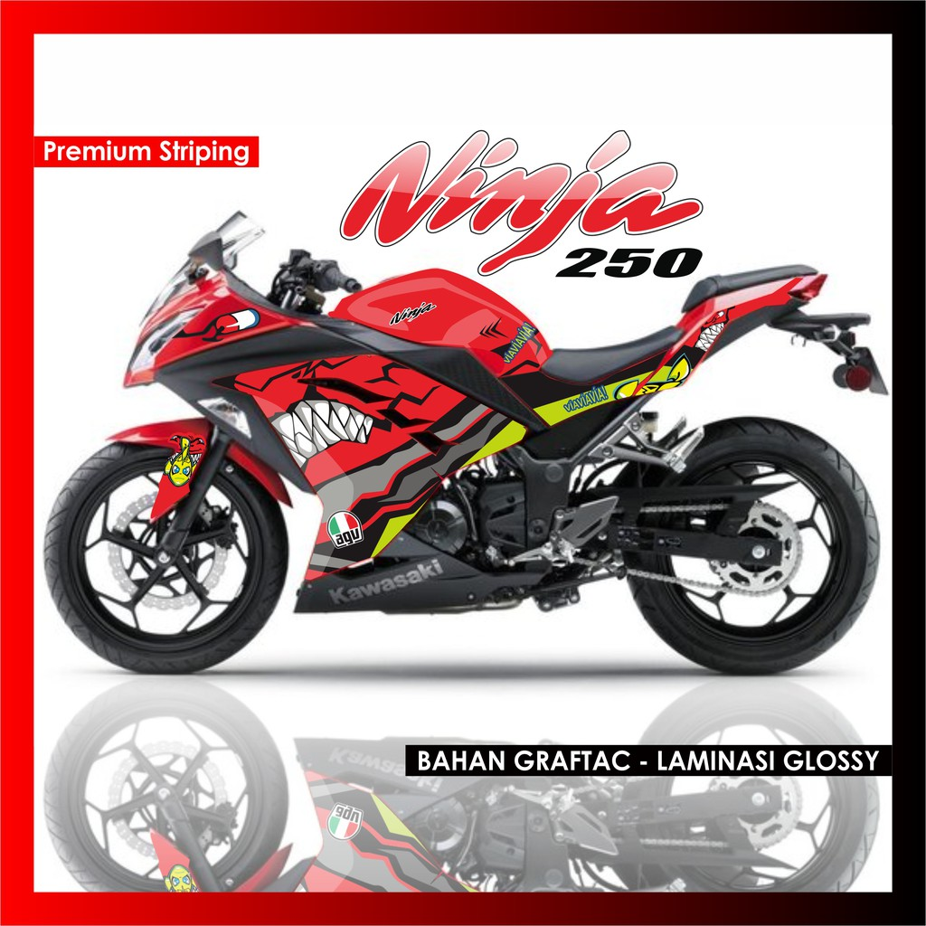 Striping variasi kawasaki ninja 250 fi f1 r decal sticker lis motor list stiker dekal shopee indonesia