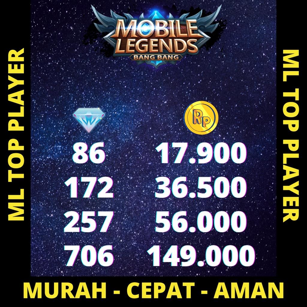 DIAMOND ML | TOPUP DM ML MURAH | ML TOPUP | ISI DM ML- DIAMOND MOBILE LEGENDS | 86, 172, 257 DIAMOND