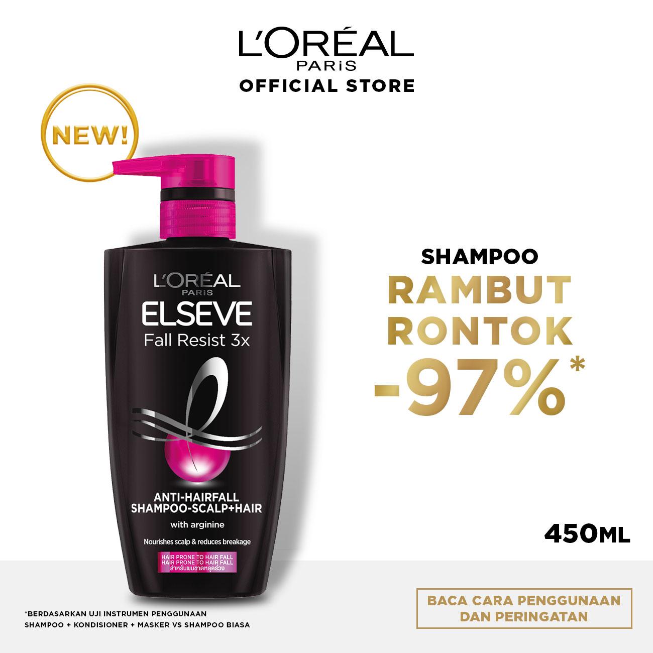 L'Oreal Paris Fall Resist 3x Shampoo Hair Care - 450 ml (Perawatan Untuk Rambut Mudah Rontok)