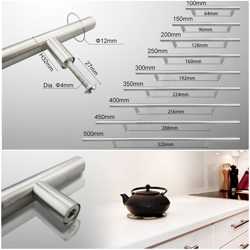 Accessories 10 Size Silver Home Pulls Stainless Steel Kitchen Cabinet O12mm T Bar Handle Pull Knob Shopee Indonesia