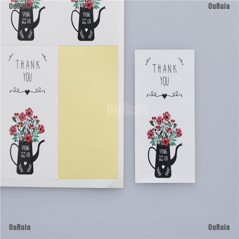 Lk 60pcs Stiker Kertas Gambar Bunga Thank You Untuk Dekorasi Kue Shopee Indonesia