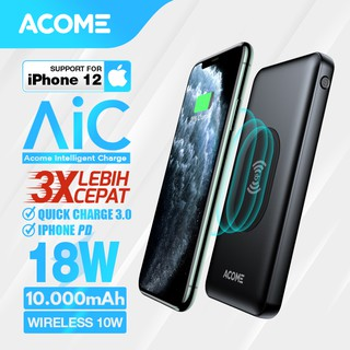 Acome Powerbank 10000mAh Wireless Charge 10W Fast Charging QC3.0 iPhone PD 18W Garansi 18 bln AP106
