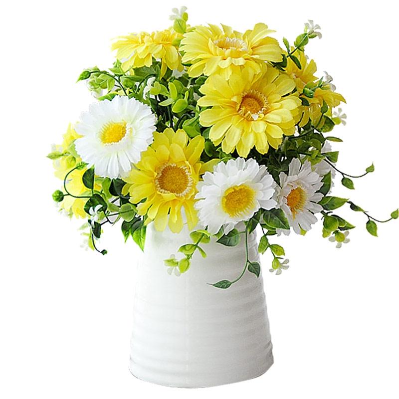 Dua Warna Set Bunga Gerbera Krisan Buatan Dengan Vas Bunga Sutra Bunga Buatan Dekorasi Hiasan Ruang Shopee Indonesia