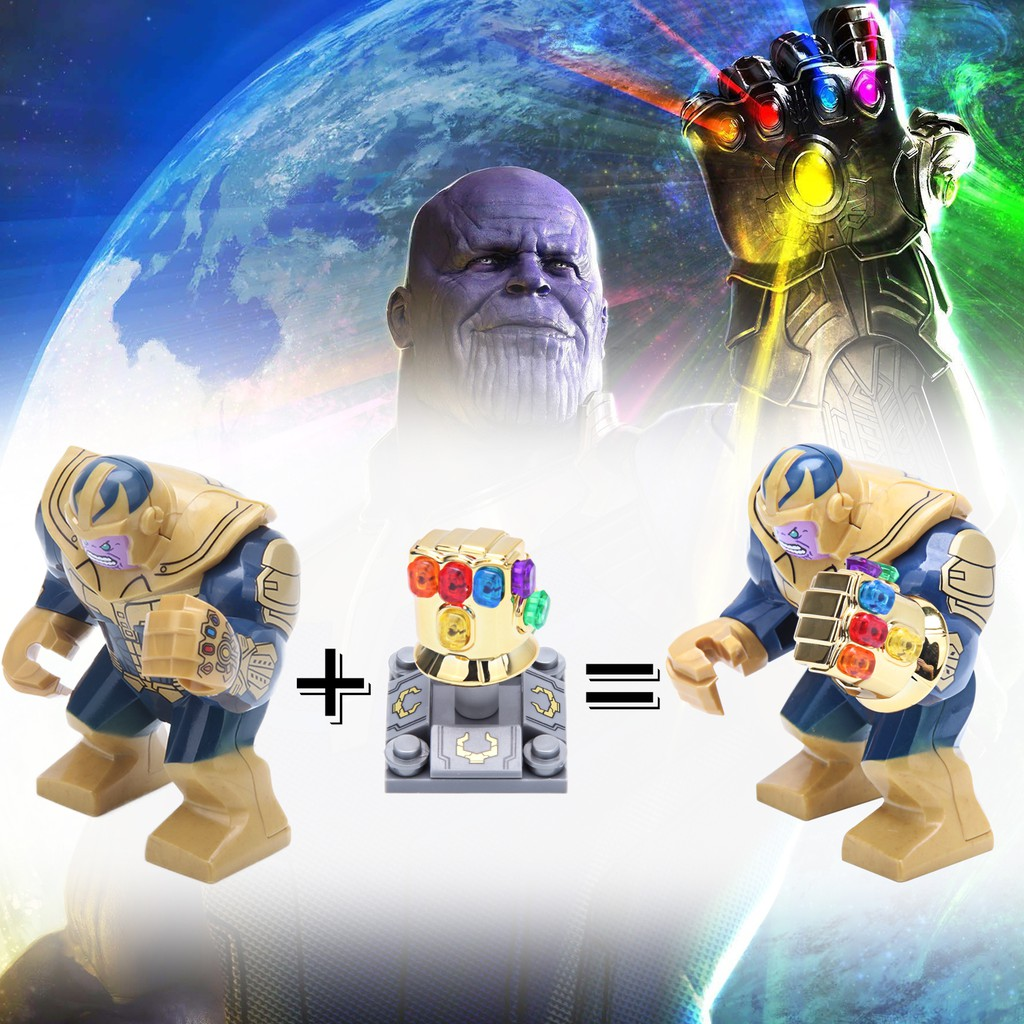 Marvel The Avengers Thanos Infinity Gauntlet Minifigures Lego Compatible Building Blocks Shopee Indonesia