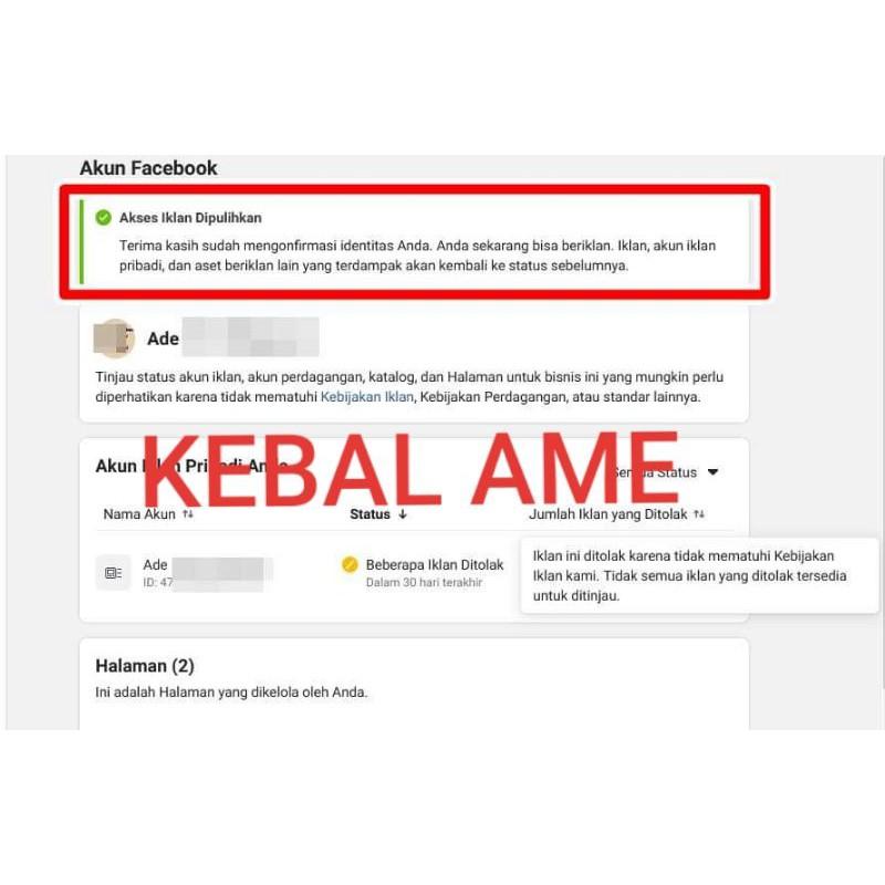 Jual Akun Fb Ads Verifikasi EKTP + BM