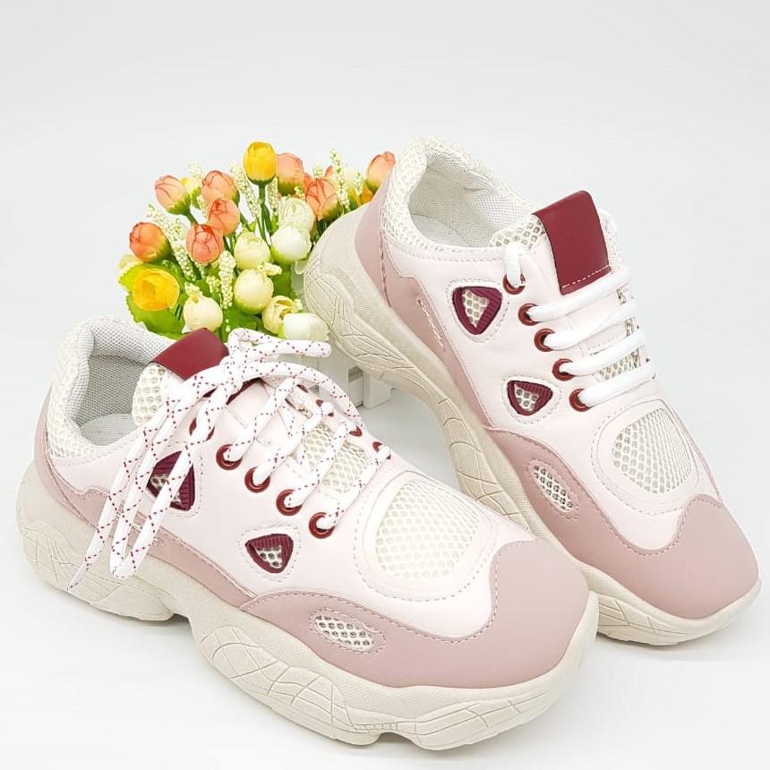 Sepatu Sneakers Wanita Untuk Olahraga Warna Putih Pink Sepatu