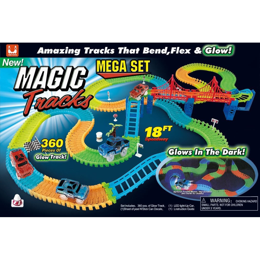 Glowing Cars Racing-Track Glow In Dark Toys Cross Cars Set Bend Flex Cars DP