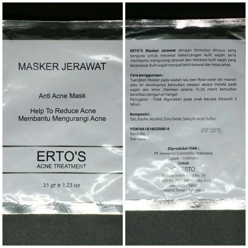 Ertos Anti Acne Mask Masker Jerawat Shopee Indonesia By