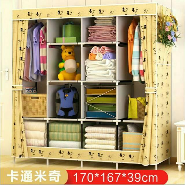 HiH Mhr49 lemari pakaian jumbo super multifunction wardrobe bluefeet | Shopee Indonesia