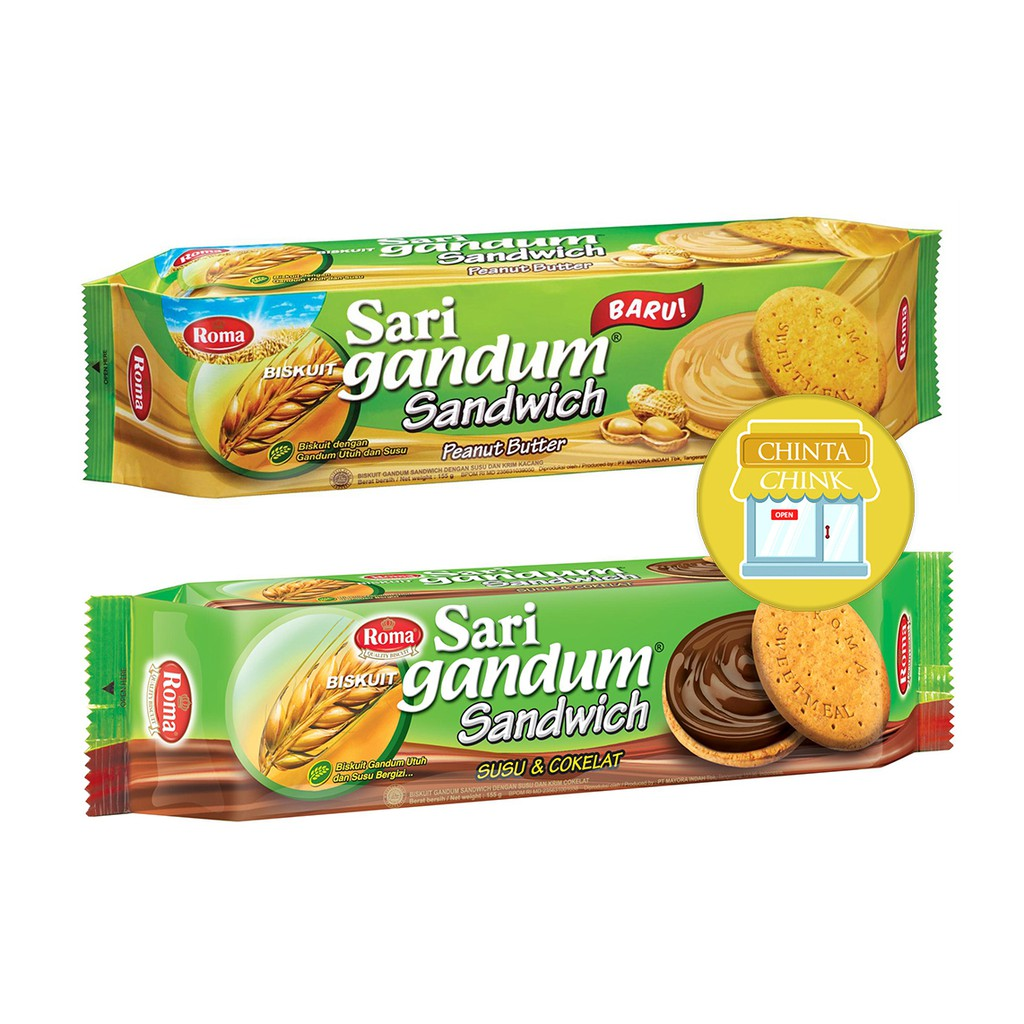 Biskuit Roma Sari Gandum Sandwich Coklat Kacang 115g Shopee