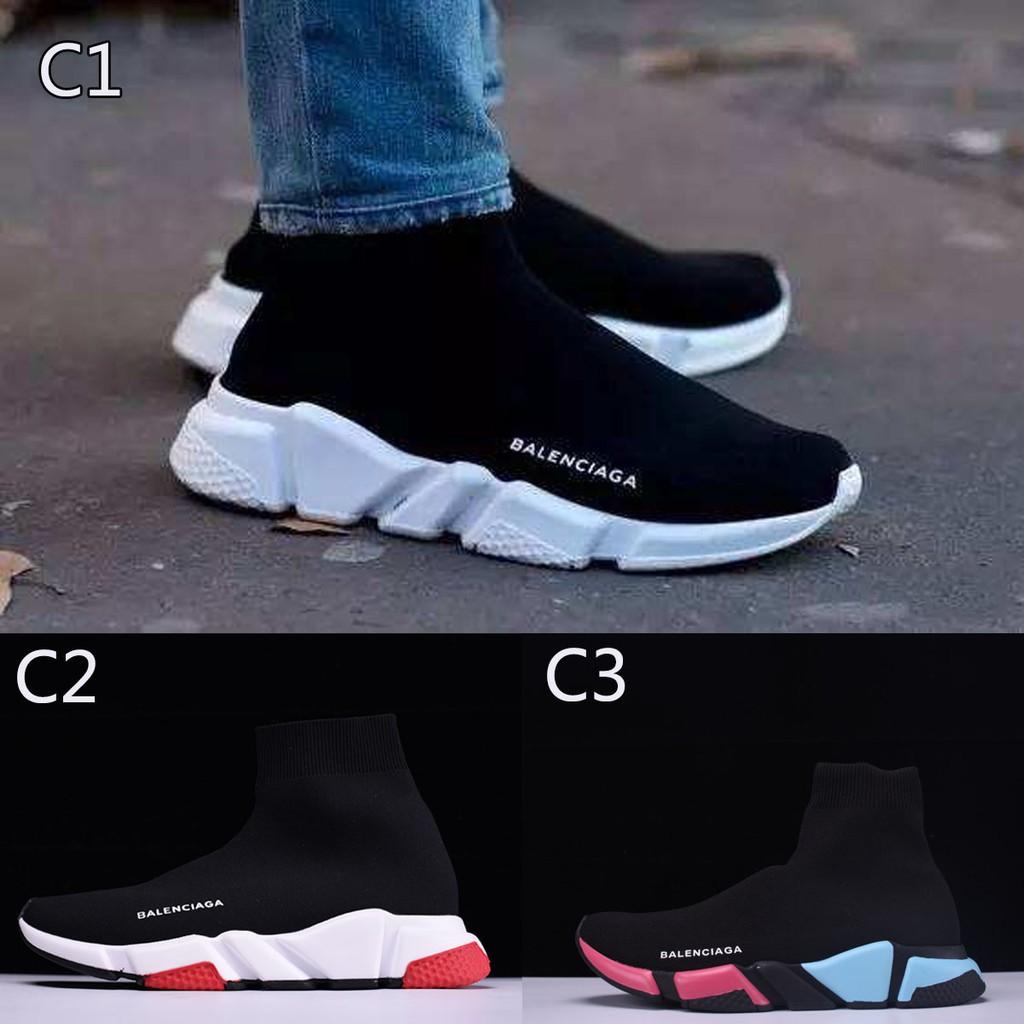 Original Sepatu Balenciaga Speed stretch-knit Mid Pria Wanita sneakers  Olahraga sock shoes 9 color  972cf65c4b