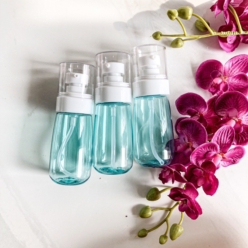 botol plastik 30ml pump lotion biru pink clear botol sabun shampoo conditioner kemasan isi ulang-2