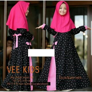 stelan baju muslim anak vee polka hitam fashion anak gamis dres anak 26c5358558