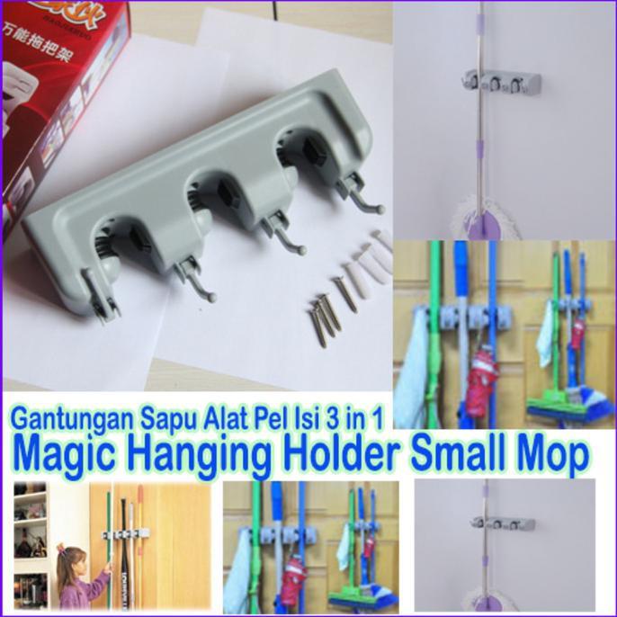 Gantungan sapu alat pel dengan hook 3 slot magic mop holder | Shopee Indonesia
