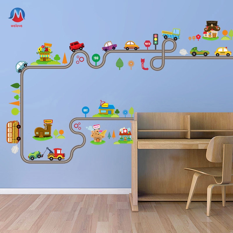 Flash Sale Cartoon Cars Highway Track Wall Sticker Kids Children S Play Room Bedroom Decor Wall Art Decals Shopee Indonesia