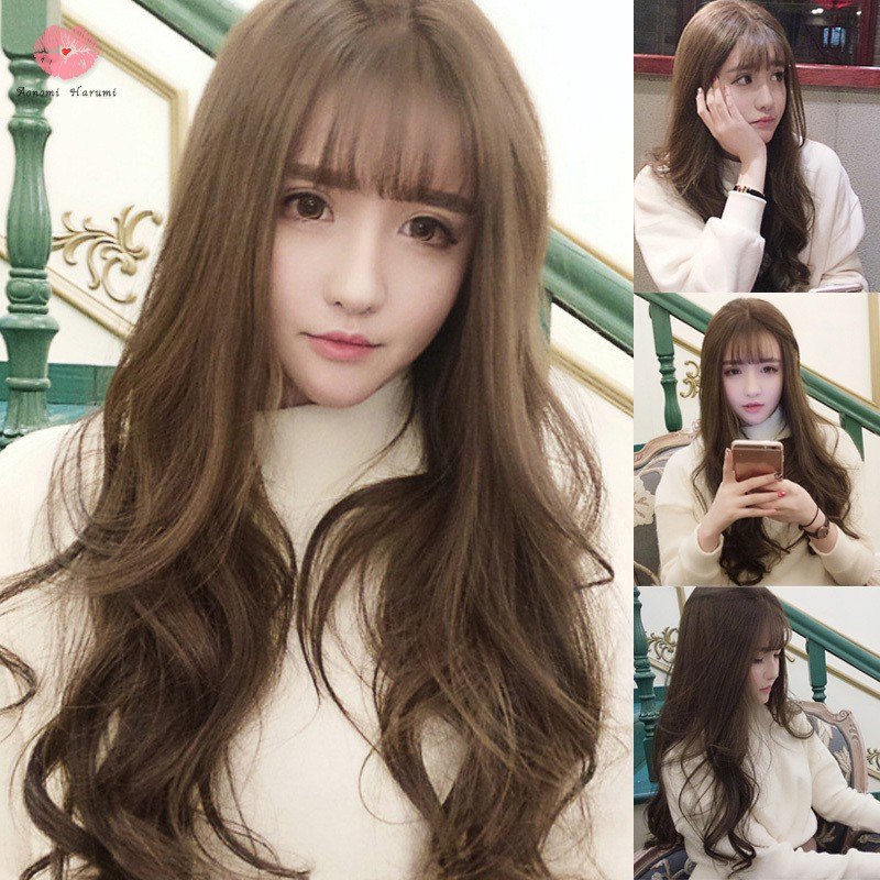 Wig With Air Bangs Fluffy Long Curly Hair Wig Water Ripple Wave For Girls Party Cosplay Shopee Indonesia