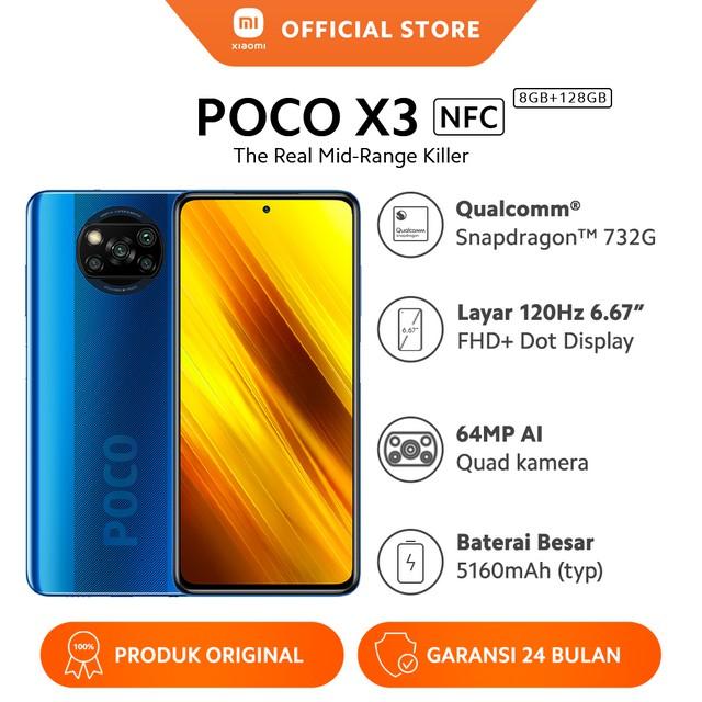 "Poco X3 NFC (8GB+128GB) Snapdragon™ 732G, Layar 6.67"" FHD+, 5160mAh, 64MP Quad Kamera, GaransiResmi | Shopee Indonesia"